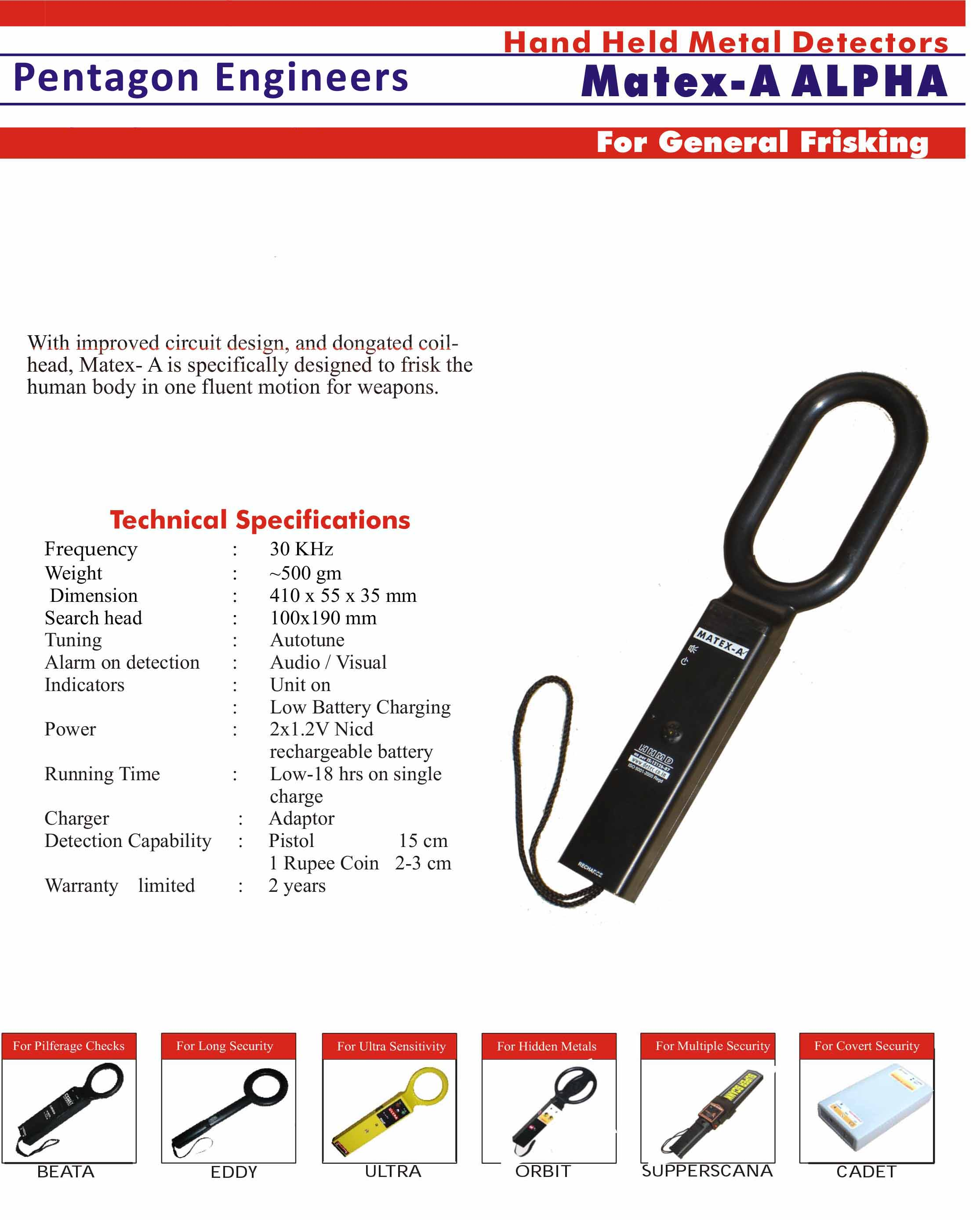 Hand Held Metal Detector Matex A Alpha